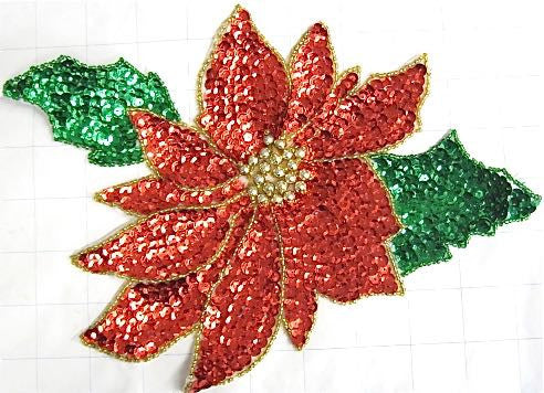 "Poinsettia Red Flower with Gold Center, Sequin Beaded 7.5"" X 10.5"""