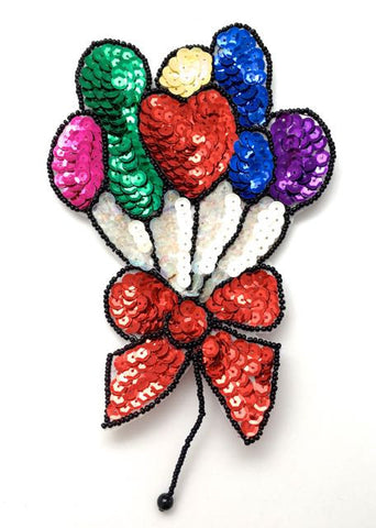 "Balloons with Multi-Colored Sequins and Beads 7"" x 4.5"""