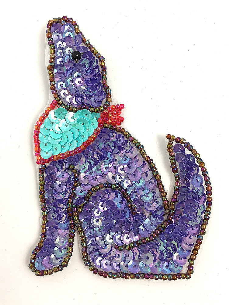 "Coyote with Purple Sequins and Beads 4.25"" x 3"""