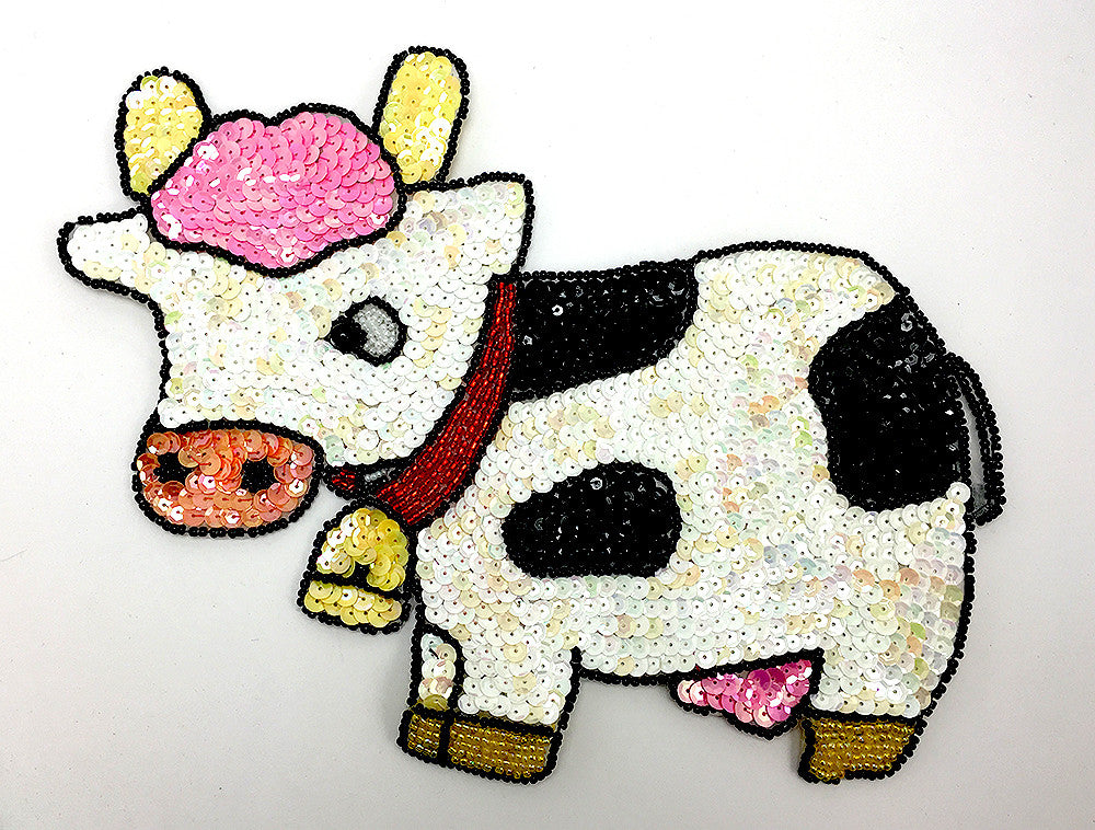 "Cow White and Black Sequin Beaded 6"" X 7"""