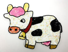 "Load image into Gallery viewer, Cow White and Black Sequin Beaded 6"" X 7"""