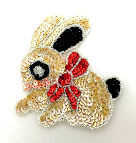 "Bunny Rabbit with Multi-Colored Beige Sequins and Red Bow 4"" x 4"""