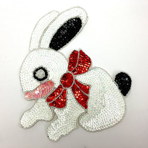 "Rabbit Bunny  with White Sequins Red Bow 9"" x 8"""