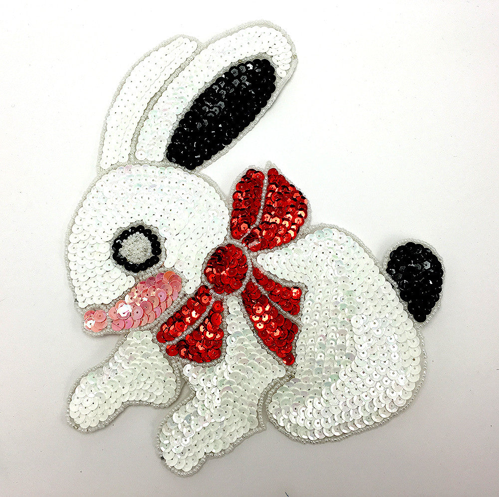 Rabbit Bunny  with White Sequins Red Bow 9