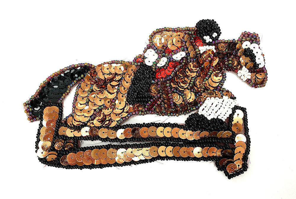 "Horse Jumping in Competition, Sequins and Beads 6"" x 4"""