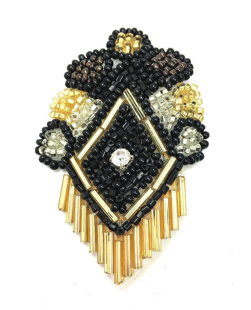 Designer Motif with Black Gold Beads and Rhinestone 2.5