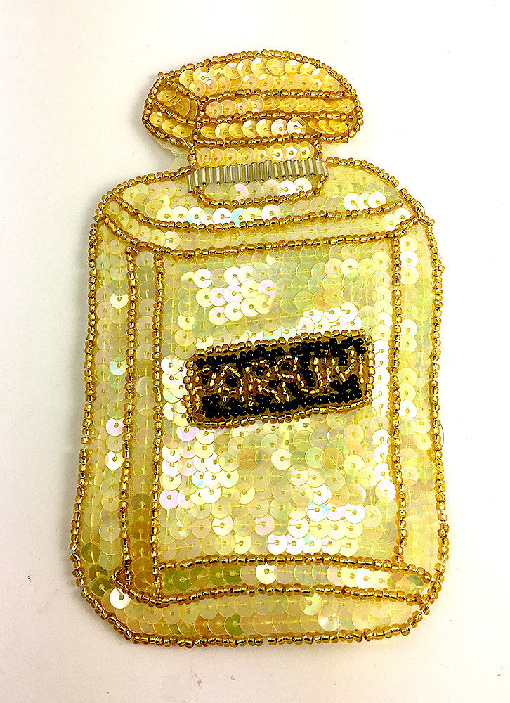"Perfume Bottle says ""PARFUM"" Yellow Sequins Black Beads 6"" x 3"""