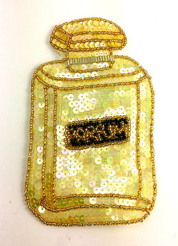 "10 PACK Perfume Bottle says ""PARFUM"" Yellow Sequins Black Beads 6"" x 3"""
