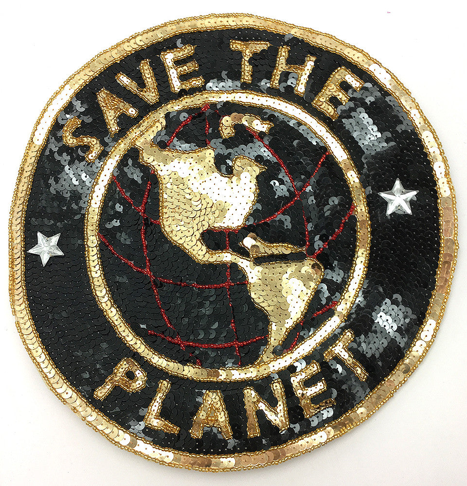 Save the Planet Black and Gold Sequin and Beaded Applique 11""