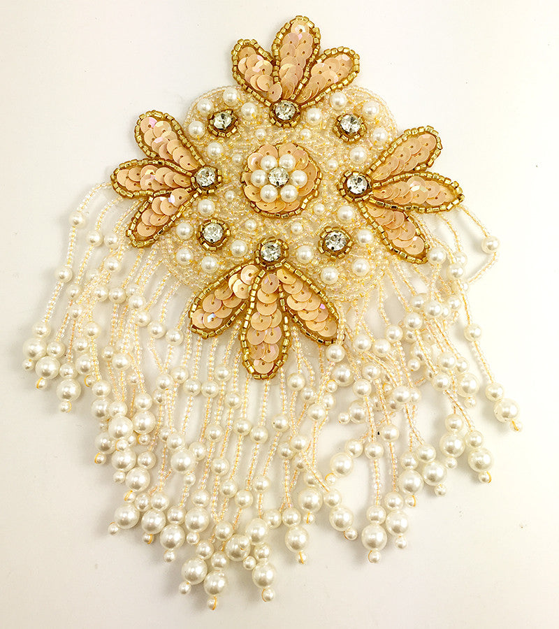 Epaulet with Beige Sequins, Beads, Pearls and Rhinestones 7.5