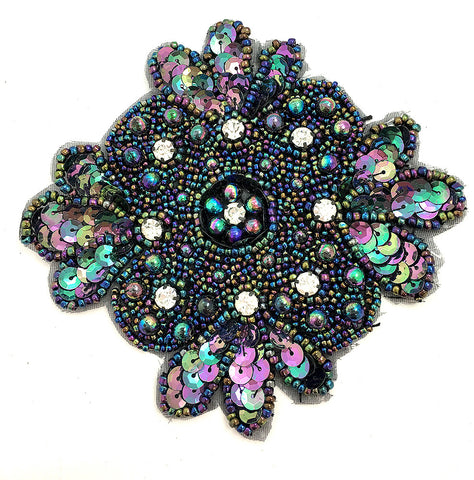 Designer Motif with Moonlight Sequins, Beads, Pearls and Rhinestones   5""