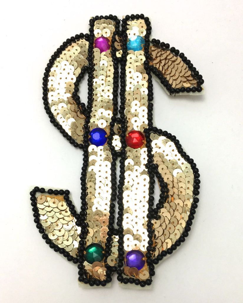 "$ Sign, Gold with Black Beads 6"" x 4"""