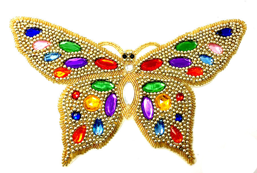 "Butterfly with Gold Beaded Jewels 7"" x 11"""