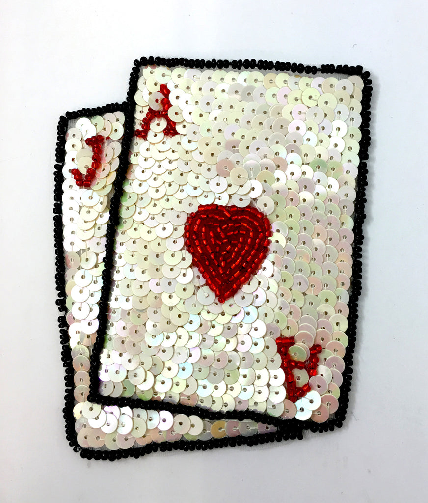 "Ace and Jack of Hearts, White Sequins, Black/Red Beads 4"" x 3"""