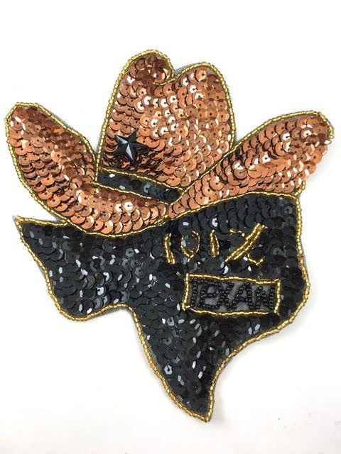 "Cowboy Hat Sitting on Texas with Words, 101% Texan, Sequin Beaded 6.5"" x 6.5"""