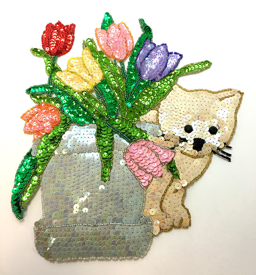 "Cat with Tulip Vase, Multi-ColorSequins and Beads  9.5"" x 9"""