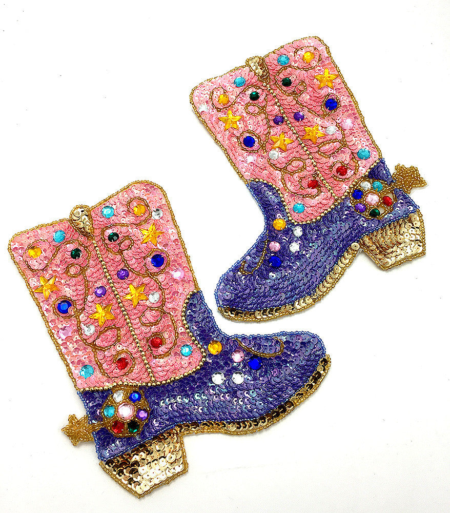 "Cowboy Boot Pair with Pink and Purple Sequins and Beads 7.5"" x 6"" ea."