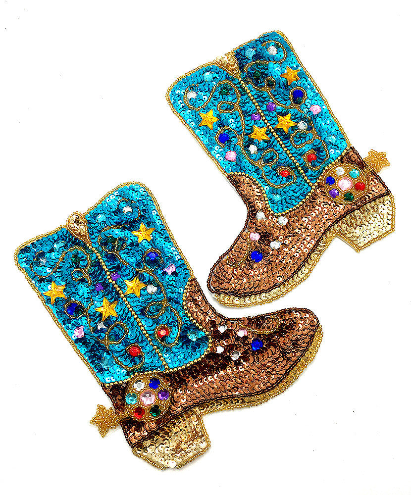 "Cowboy Boot Pair with Turquoise and Bronze Sequins and Beads  7"" x 6"" ea."