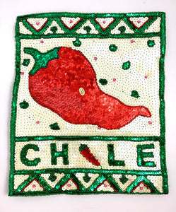 "10 PACK Chile Pepper Poster with White Green Red Sequins and Beads 12"" X 10"" - Sequinappliques.com"
