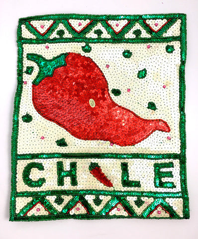 "10 PACK Chile Pepper Poster with White Green Red Sequins and Beads 12"" X 10"""