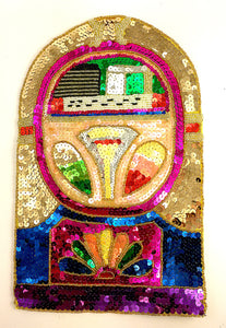 "Jukebox with Multi-Colored Sequins and Beads 13"" x 8"""