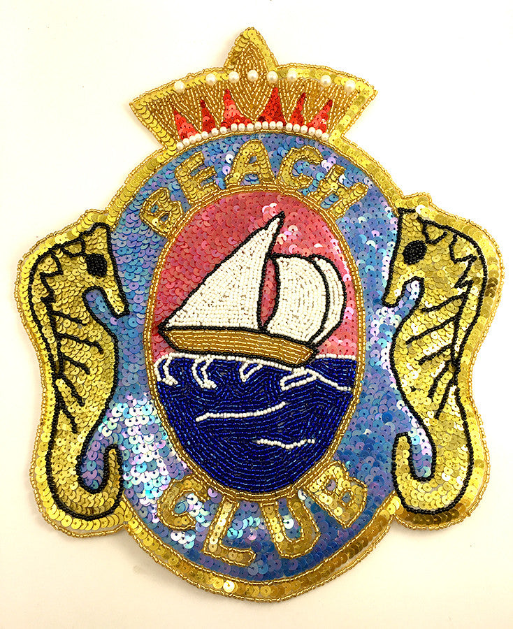 "Beach Club Applique with Sea Horses Crown and Sail Boat 11.5"" x 9.5"" - Sequinappliques.com"