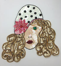 "Load image into Gallery viewer, Fashion Diva Face with Polka Dot Hat, Multi-Color Sequins, Beads and Stones 12"" x 11"""