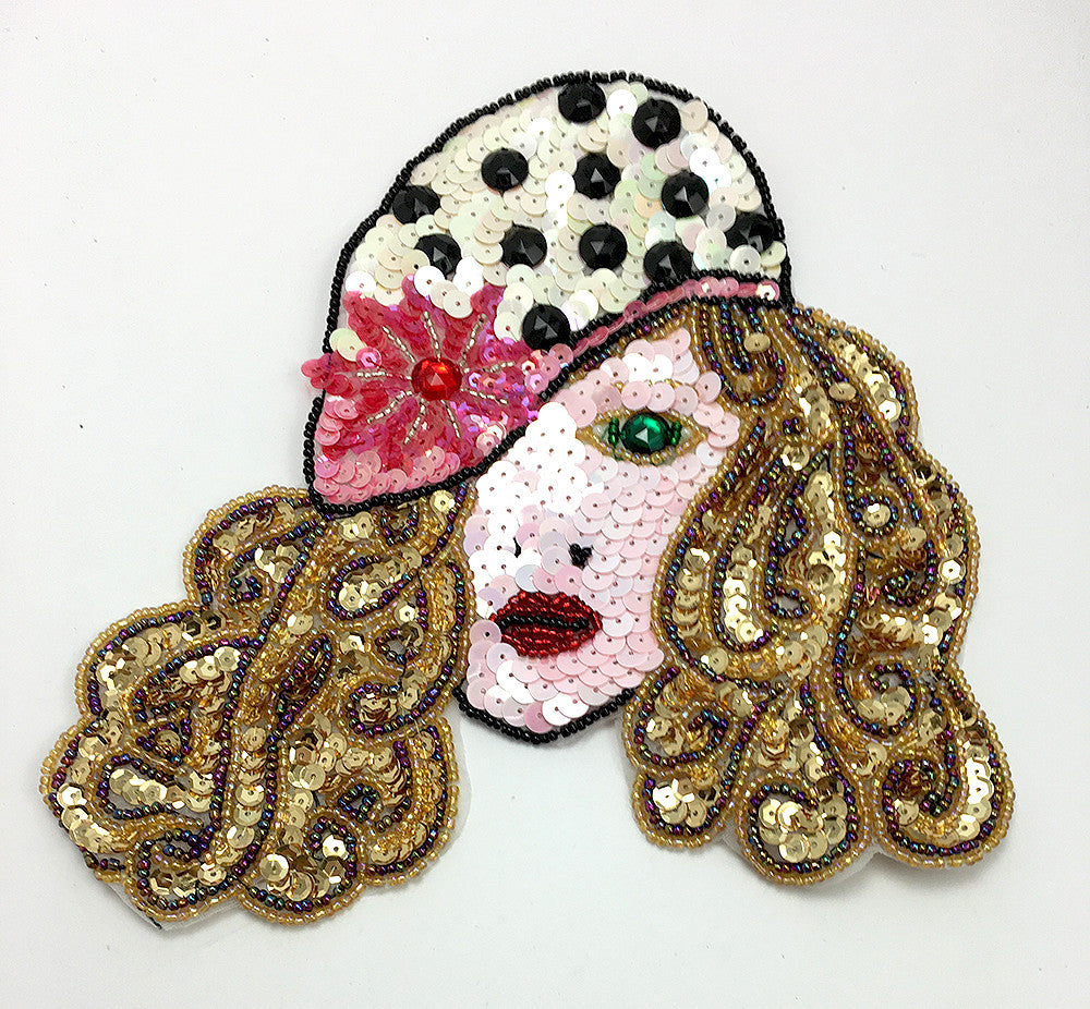 "Fashion Diva with Polka Dot Hat, Multi-Color Sequins, Beads and Stones 8"" x 7"""