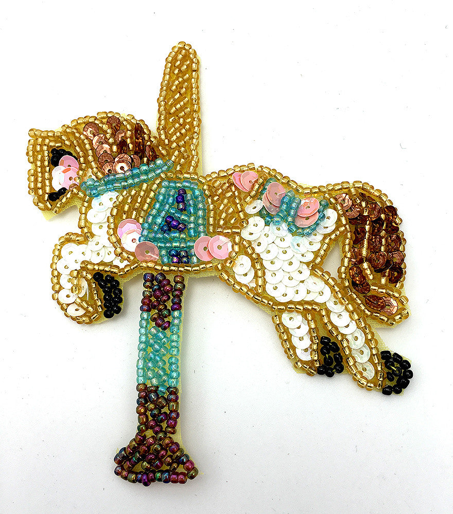 "Carousel Horse Gold White Blue Bronze Beaded 5"" x 4"""