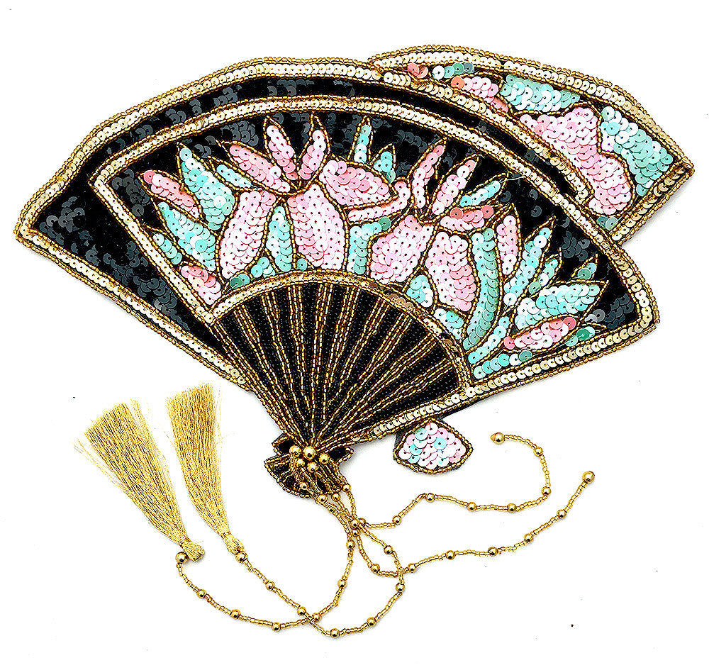 "5 PACK Fan Victorian Style Exotic with Sequins and Beads 16"" x 12"" - Sequinappliques.com"