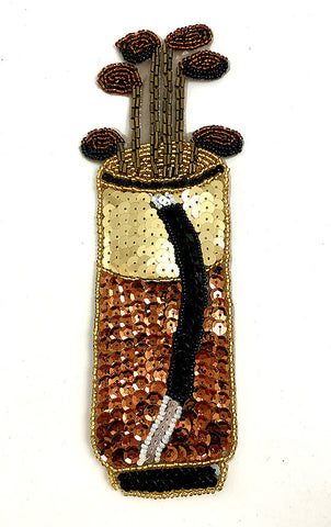 "Golf Bag with Golf Clubs Bronze Gold Black Sequins and Beads 8.5"" x 3"""