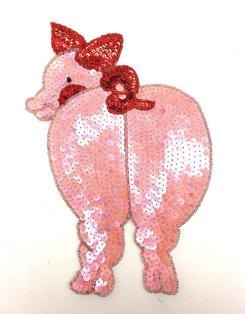 "Pig Rear with Pink Red and Gold Sequins and Beads 6.75"" x 9"""