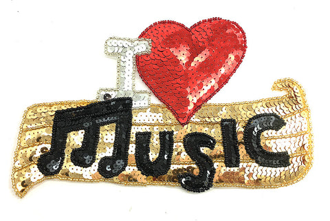 "Music Sequin and Beaded Word Applique 6"" x 9"""