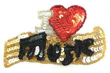 Load image into Gallery viewer, Music Heart with Red Silver Gold Black Sequins and Beads  2 Size Variants