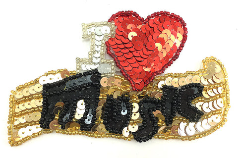 Music Heart with Red Silver Gold Black Sequins and Beads  2 Size Variants