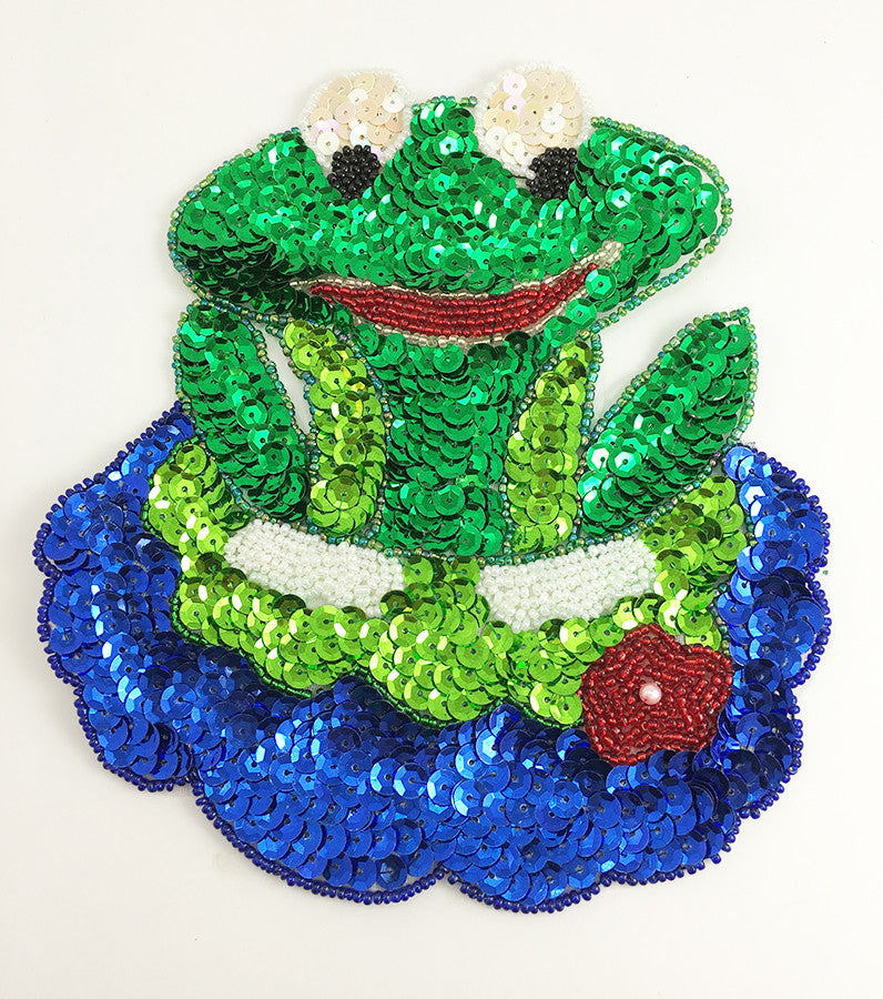 "10 PACK Frog on a Lily Pad 7"" X 6.25"" - Sequinappliques.com"
