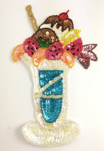 "Ice Cream Soda with MultiColored Sequins and Beads 8.25"" x 5.25"""