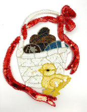 "Load image into Gallery viewer, Easter Basket with Chick and Red Bow 9"" x 9"""