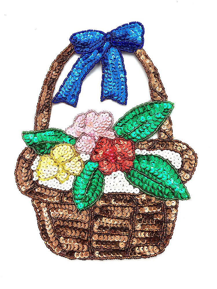 "Easter Flower Basket with Flowers 6.5"" x 9"""