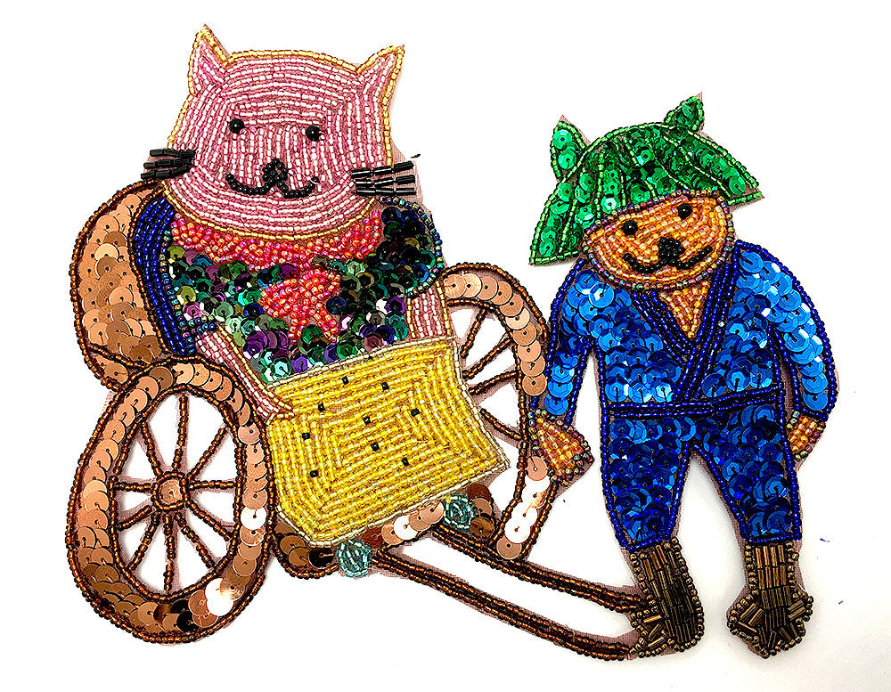 "Cat in a Carriage Sequin Beaded  6"" x 8"""