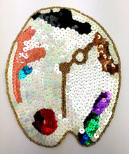 "Load image into Gallery viewer, Painter Palette Clock Appliqué, Sequin Beaded  5.5"" x 6.5"""