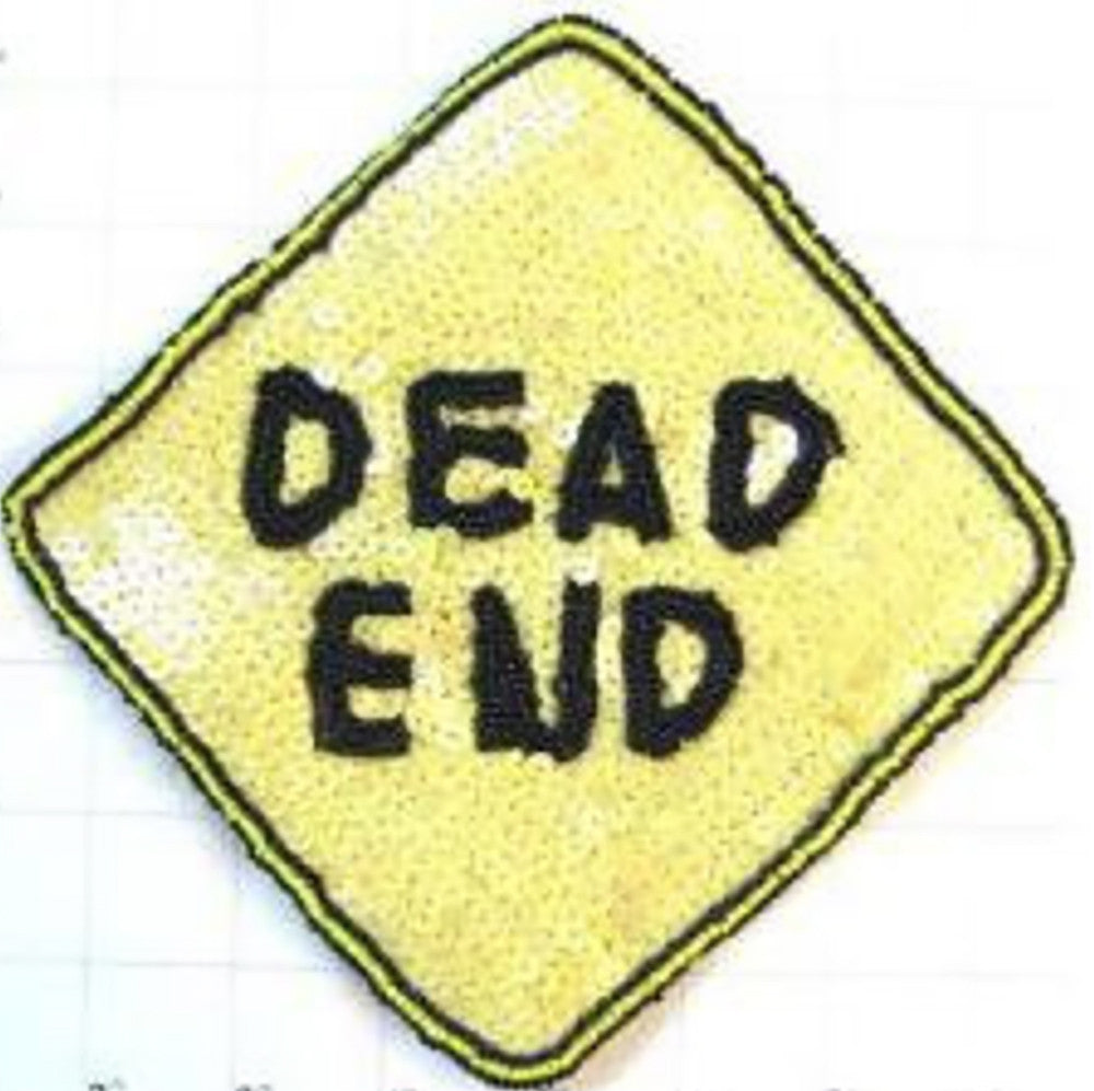 "Dead End Road Sign Sequin Beaded 8"" x 8"""