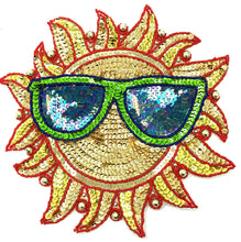 Load image into Gallery viewer, Sun with Glasses Multi-Colored Sequins and Beads 10""
