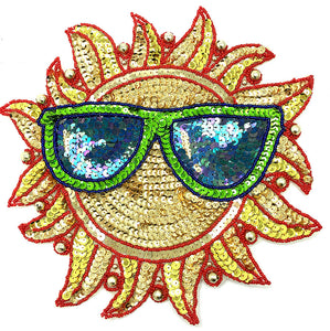 Sun with Glasses Multi-Colored Sequins and Beads 10""