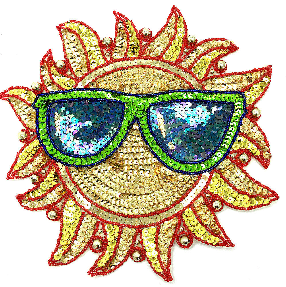 Sun with Glasses Multi-Colored Sequins and Beads 10