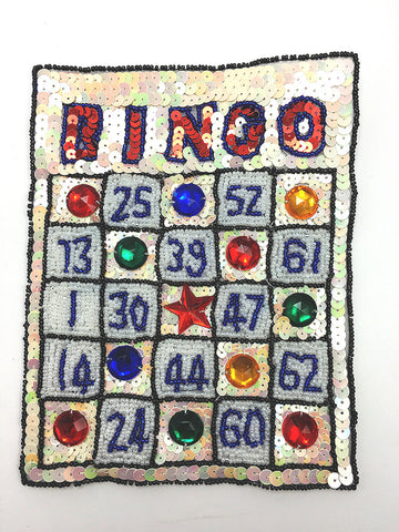 "Bingo Card with Multi-Colored Sequins and Beads Hidden 7.5"" x 5.75"""