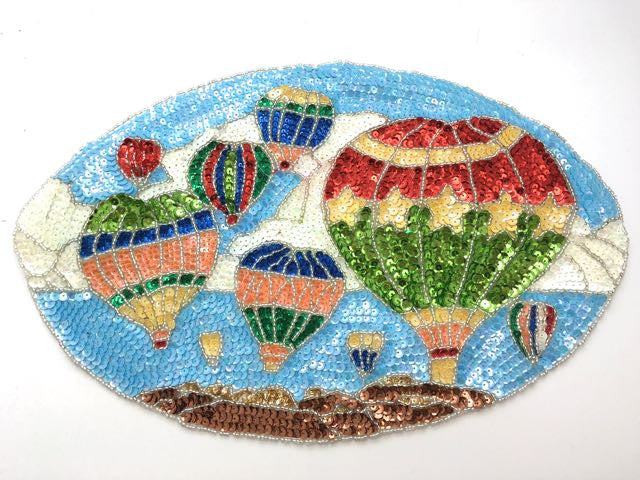 "Hot Air Balloon Scene with Multi-Colored Sequins and Beads  8.5"" x 13"""