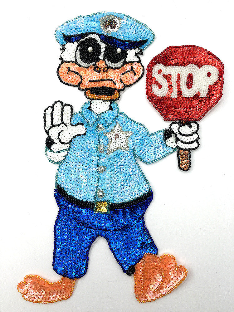 "Policeman Duck with Stop Sign 12"" x 8"""