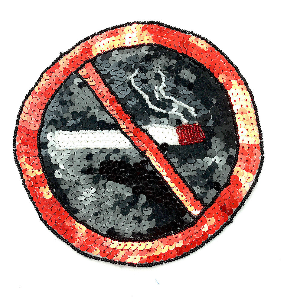 No Smoking Sign Patch, Sequin Beaded  7""
