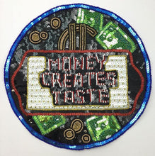 Load image into Gallery viewer, Money Creats Taste Patch with Multi-Colored Sequins and Beads 10.5""